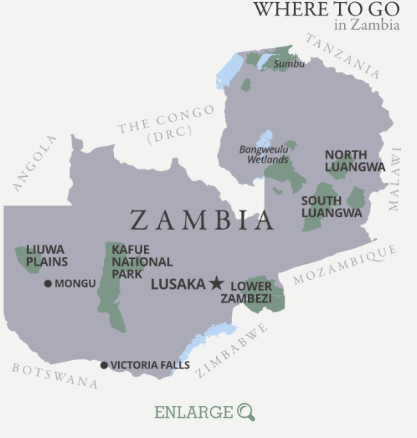 Where to go in Zambia map