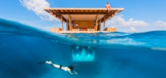 The famous underwater room on a timber structure