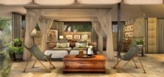 The interior of the rooms at Roho ya Selous