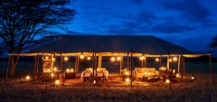 Legendary Serengeti Mobile Camp - Main area at night