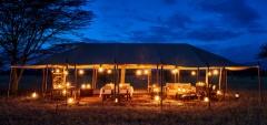 Legendary Serengeti Mobile Camp - Main area at night
